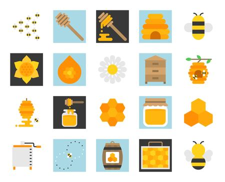 Honey farm icon set, flat design size 128 px