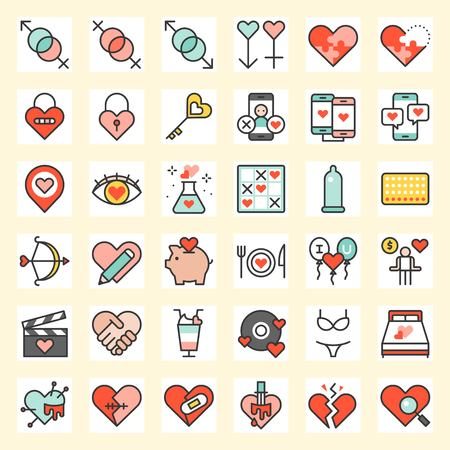Valentine and love related icon set