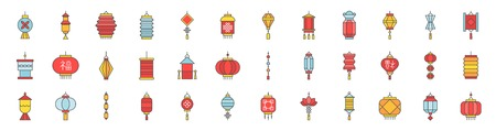 Chinese new year lantern set. Filled outline icon, pixel perfect size 218 px, 2 px stroke.
