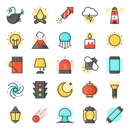 Light source from natural and daily life icon, such as traffic light, Ramadan lamp, galaxy, angler fish, fluorescent tube, firefly, filled outline