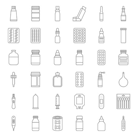 Pharmacy item, such as medicine, antibiotic, plaster, cough syrup, nasal spray, condom, dropper, cotton bud, syringe, painkiller, mouth spray, antiseptic cream, thin line icon pixel perfect