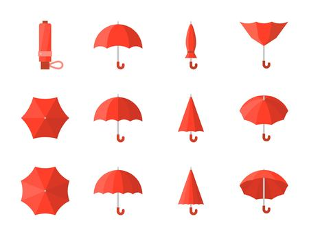 Red umbrella icon in various style, flat design Vectores