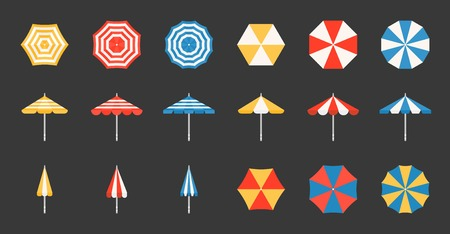 Beach umbrella set, side and aerial view, flat design pixel perfect icon on grid system