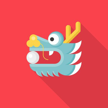 Chinese Dragon head with ball or pearl in mouth, flat design icon