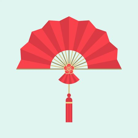 Red Chinese folding handheld fan with plum blossom sign, flat design Illustration