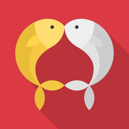 Gold and silver fish kissing on red background, flat design for lunar New Year and Valentine. Illusztráció