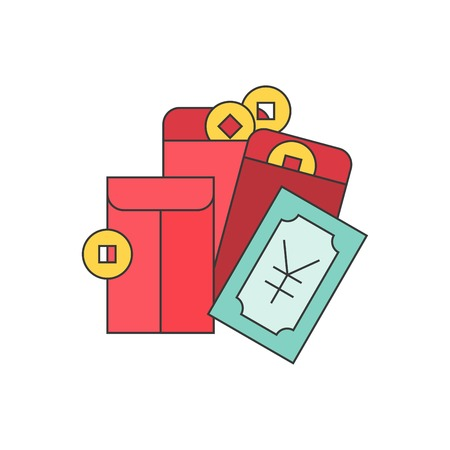 Chinese New Year pocket money, gold coins, yuan bank and red envelope, filled outline icon. Illustration
