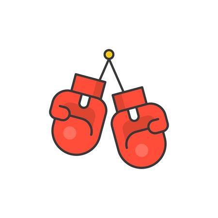 Boxing gloves , filled outline icon illustration. 向量圖像