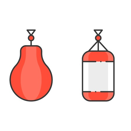 Boxing and punching bag, filled outline icon Illustration