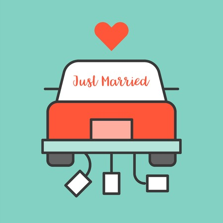 Just married sign on Wedding car, filled outline icon.