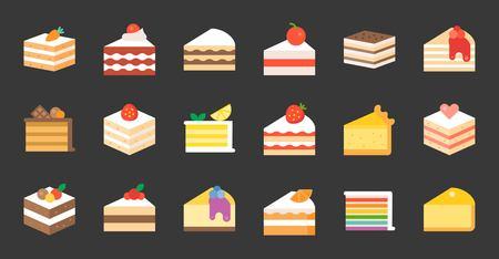 Set of different cakes: tiramisu, cheese cake, red velvet, orange, carrot, chocolate. Vector illustration flat icons on black background.