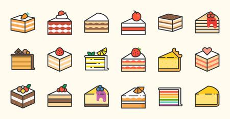 Set of different cakes: tiramisu, cheese cake, red velvet, orange, carrot, chocolate. Vector illustration filled outline icons on white background. Illustration