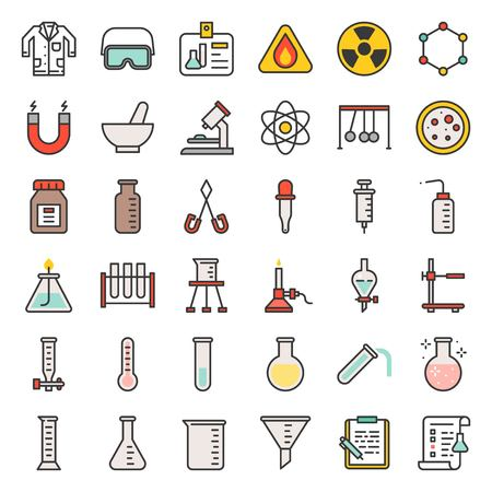 laboratory equipment, chemistry analytical concept, filled outline icon Stock Illustratie