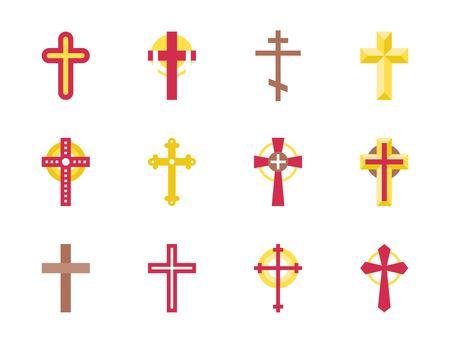 Set of christian Cross icon