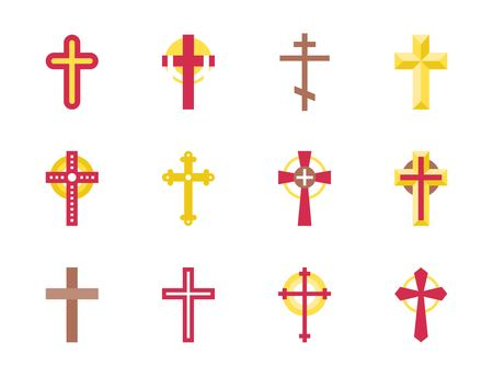 Set of christian Cross icon