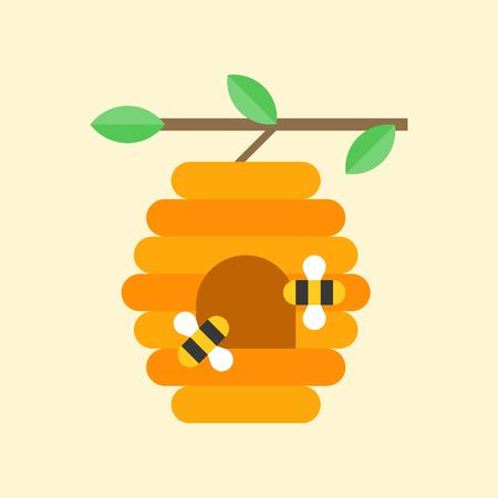Flying bees and beehive on branch. Flat icon