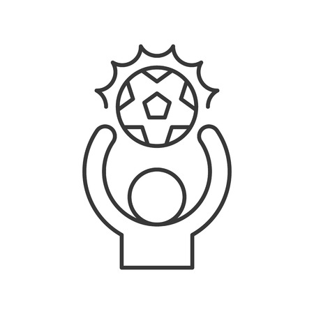 Goal keeper keep ball in hand, thin line icon Stock Illustratie