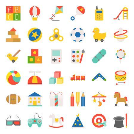 Children toy such as ball, rocking horse, blocks, balloon, flat icon set 23.
