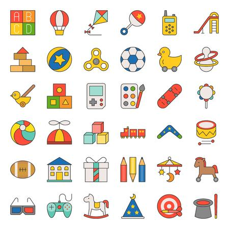 Children toy such as ball, rocking horse, blocks, balloon, filled outline icon set 22.