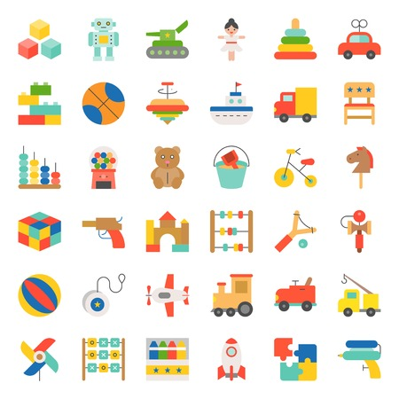 Toys for children and baby icons set Vector illustration.