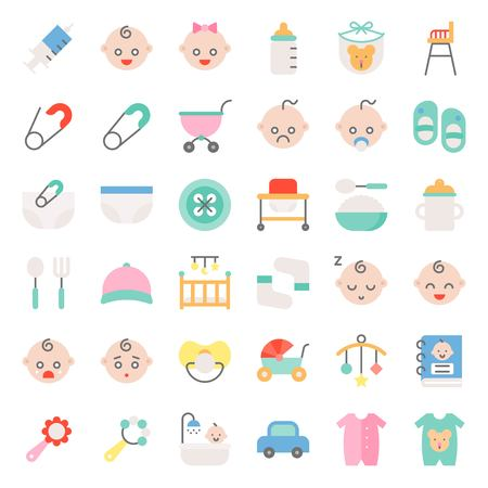 Baby shower flat icon set with baby avatar