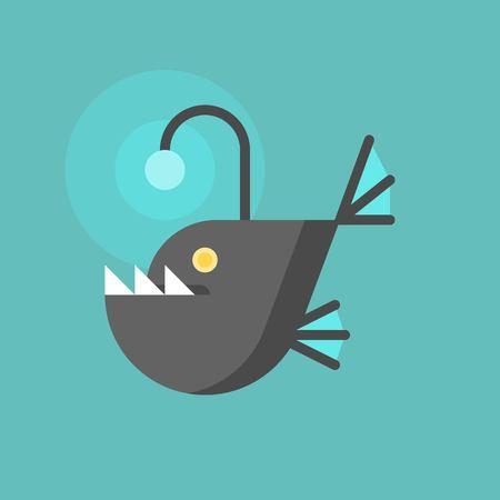angler fish icon, flat design Vector illustration.