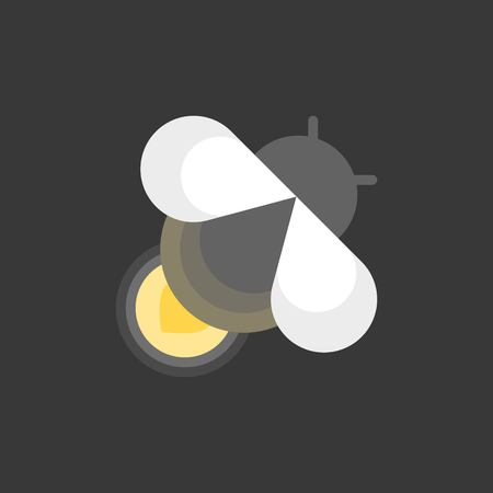cute firefly in night, flat icon Vector illustration.
