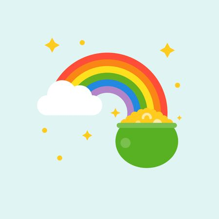 pot of gold at end of rainbow, st. Patrick's day flat design icon
