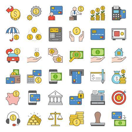 bank en financieel pictogram, gevuld overzichtsontwerp Vector Illustratie