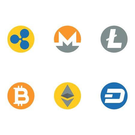 Altcoins, Kryptowährungssymbol, flaches Design Standard-Bild - 97099232
