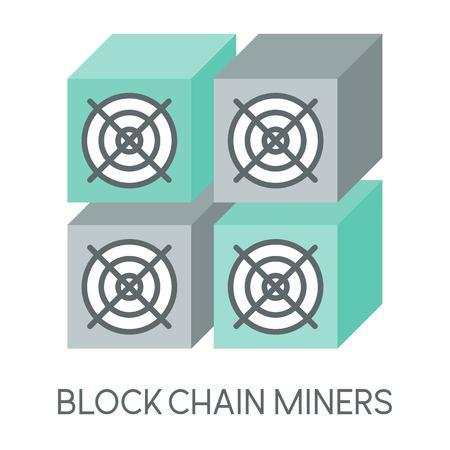 Kryptowährungssymbol, Bergbauhardware der Blockkette, Bergbaumaschine, flaches Design