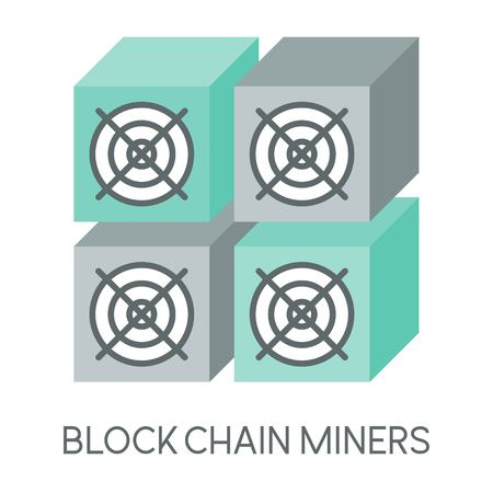 Cryptocurrency icon, block chain miners mining hardware, mining machine, flat design Illustration