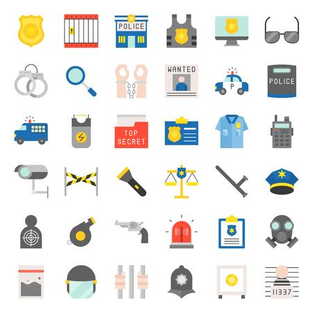 Police related icon set, flat design vector