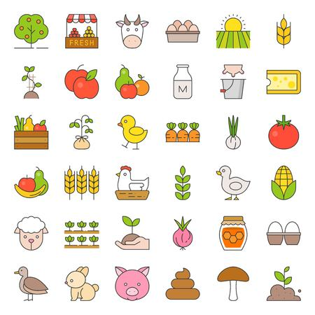 Organic farming products icon such as hen, milk, orange, tomato and more. Filled outline icon illustration.