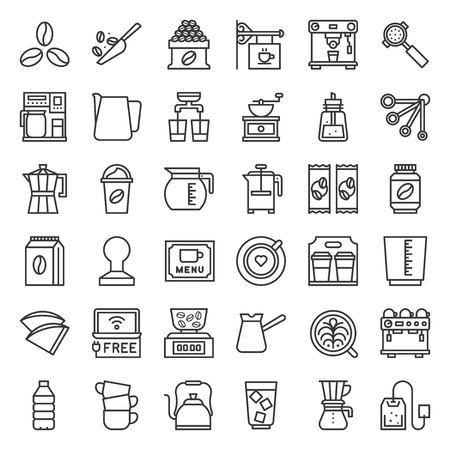 Coffee brew equipment for coffee shop, outline icon Stock Illustratie