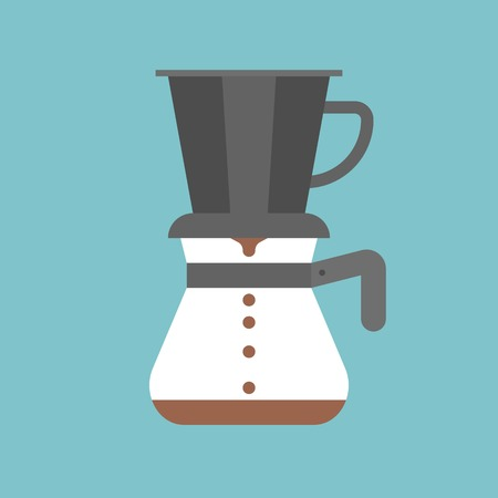 Pour over coffee maker, drip coffee, flat design. 矢量图像