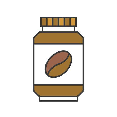 Instant coffee or Coffee bottle icon, flat design