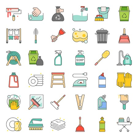 Cleaning and house keeping service icon set, filled outline icon. Illustration