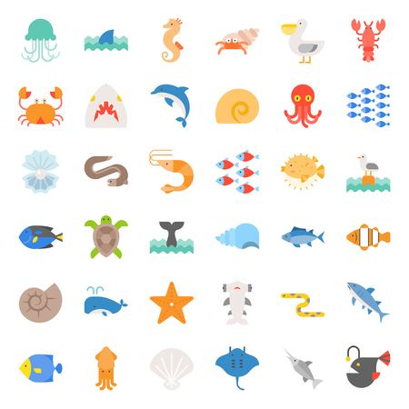 Aquatic Ocean life such as octopus, shell, pelican, herd of fish, tropical fish, flat icon set Vettoriali