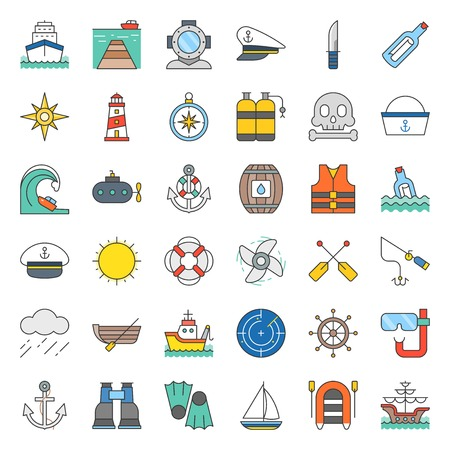 nautical and sailor, filled outline icon set
