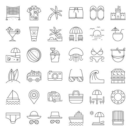Vacation on the beach, outline icon set. Stock Illustratie