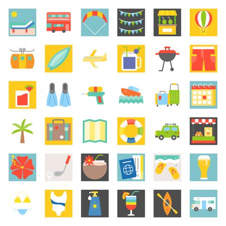 Summer vacation, flat icon set