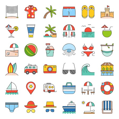 Vacation on the beach, filled outline icon set
