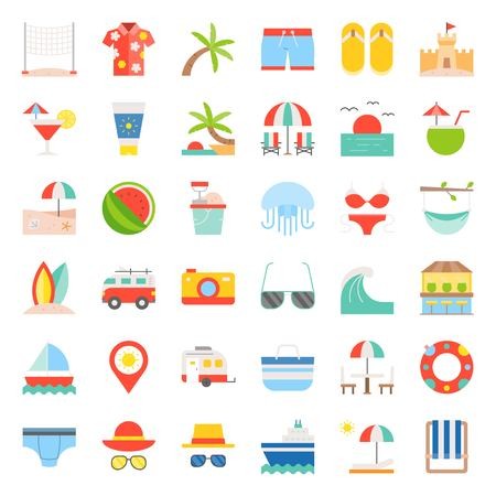 Vacation on the beach, Beach related flat icon set