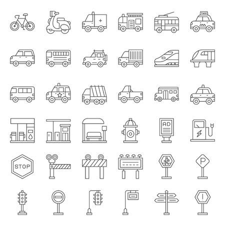 Set di trasporto con segno sul lato strada, icona di contorno