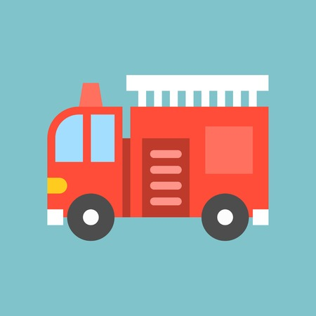 Fire truck with ladder, simple transportation icon, flat design. Banque d'images - 98714297