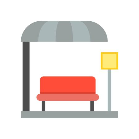 bus station stop icon, flat design Illustration