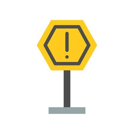 Caution sign post icon, flat design illustration.