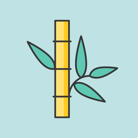 Bamboo with leaves icon, filled outline