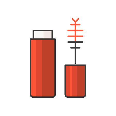 Red Lip gloss tube or mascara, filled outline icon. Illustration